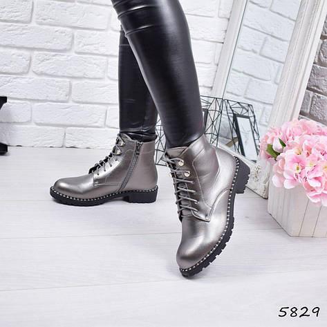 """Ботинки, ботильоны серебро демисезонные """"Teresa"""" эко кожа, повседневная,осенняя, женская обувь, фото 2"""