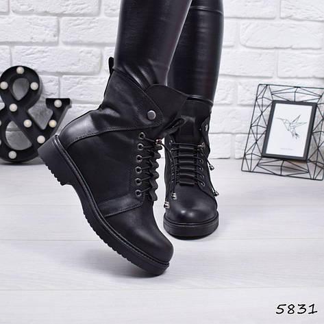 """Ботинки, ботильоны черные ЗИМА """"Ruby"""" эко кожа, повседневная, зимняя, теплая, женская обувь, фото 2"""