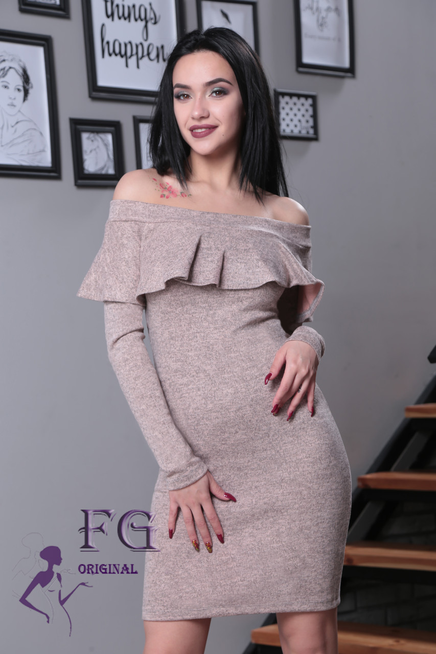"""Женское платье миди """"Rihanna"""" из ангоры 42-48р. 42, пудровый"""