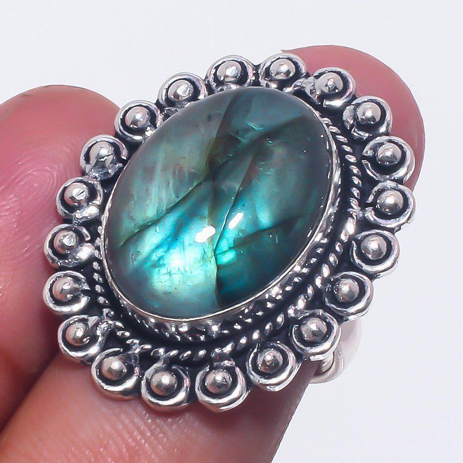 Лабрадор кольцо с натуральным лабрадоритом 17 размер Индия!