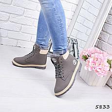 """Ботинки, ботильоны серые ЗИМА """"Timmy"""" эко нубук, повседневная, зимняя, теплая, женская обувь, фото 2"""