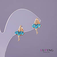 Серьги Xuping Балерина голубые камни d-11мм L-19мм цвет золото