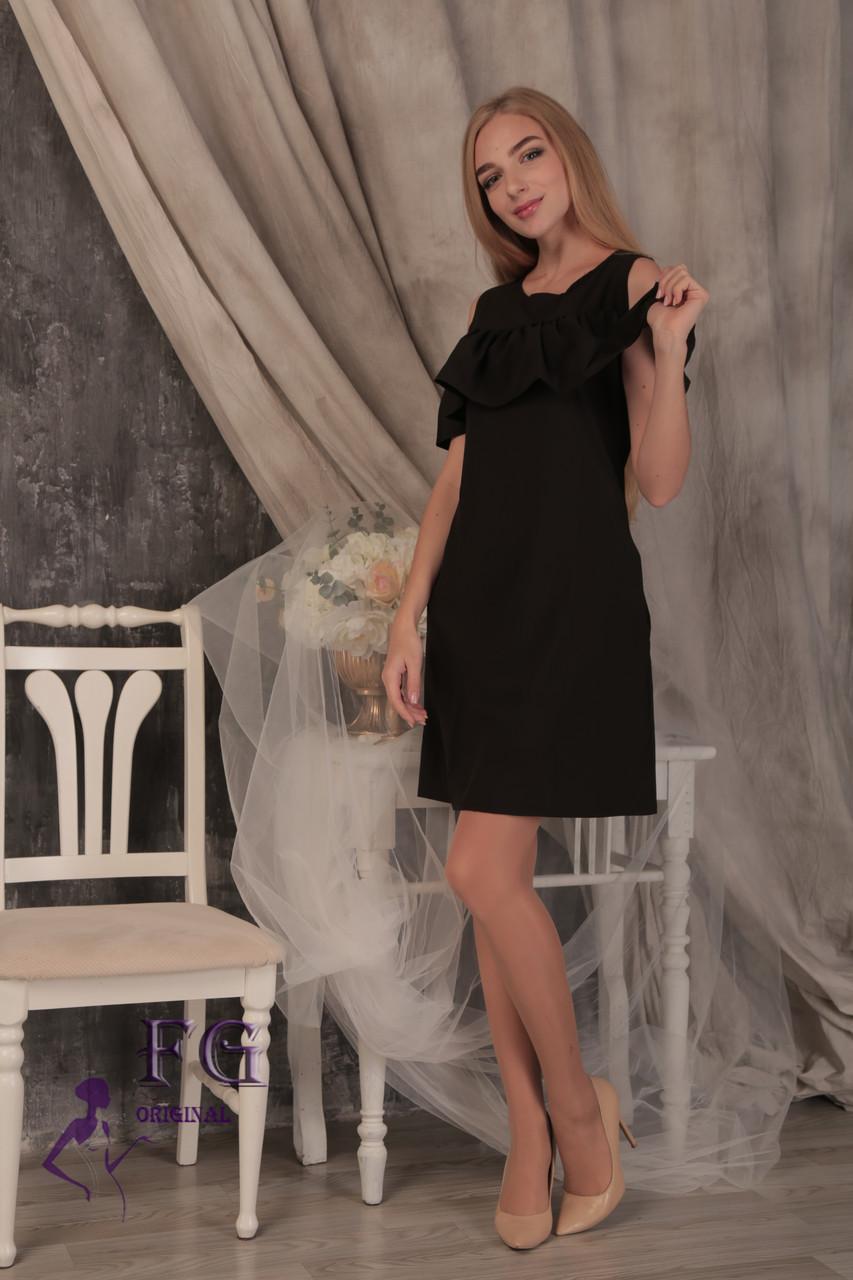 """Женское платье с воланом на плечах """"Глория"""" 42, черный"""