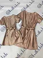 Платье ЭКО кожа на девочку размер 4-14 лет