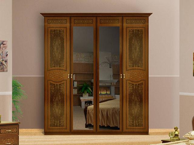 Шафа (шкаф) з ДСП/МДФ в спальню/вітальню/дитячу вишня Прімула 4Д Миро-Марк