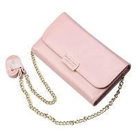 f1e66ea7e8a8 Женский кошелек-клатч Baellerry Leather 5512 с ремешком розовый
