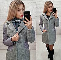 Женское пальто букле вставки плащевка серый меланж 42 44 46 48, фото 1