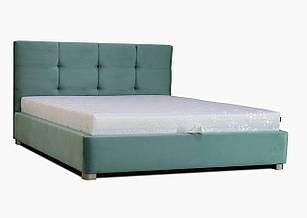 Ліжко з підйомним механізмом з м'якою спинкою в спальню Ніка (ніша+матрас ППУ) Eurosof