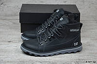 Мужские кожаные зимние ботинки Caterpillar  (Реплика) (Код:Б 707 чер  ) ►Размеры [41], фото 1