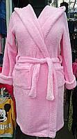 Халат розовый велсофт короткий с капюшоном