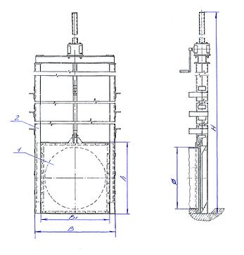 Затвор щитовой с ручным редуктором  Ду-800, фото 2