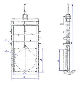Затворы щитовые для перекрытия круглых коллекторов, труб