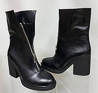 Kenzo! Ботинки женские осень кожа! Змейка спереди удобный широкий каблук Кензо , фото 1