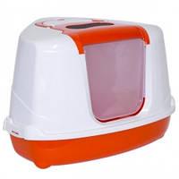 Moderna ФЛИП КЭТ УГЛОВОЙ закрытый туалет для котов 56х45х39см оранж