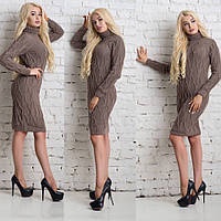 Вязаное платье кофейного цвета
