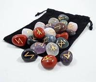 Руны ассорти из разных камней + мешочек, фото 1