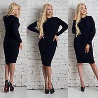 Классическое вязаное платье черного цвета