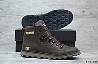 Мужские кожаные зимние ботинки Caterpillar  (Реплика) (Код: Б 707 кор ) ►Размеры [40], фото 1