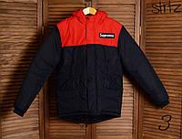 Зимняя Мужская Теплая Куртка-Парка Supreme Куртки Красно-Синие Зимние Очень Теплые Куртки-Парки