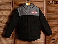 e1553296ee1b2 Зимняя Мужская Теплая Куртка-Парка Supreme Мужские Черные Куртки Зимние  Суприм