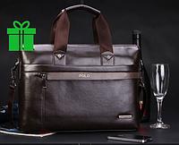 Мужская кожаная сумка-портфель Polo A4 с ручкой и на плече
