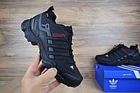 Мужские зимние ботинки Adidas Terrex SWIFT черные с белым (ТОП реплика), фото 1