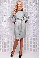 Теплое платье из плотной ангоры рукав летучая мышь с карманами 50-52 размера светло-серое