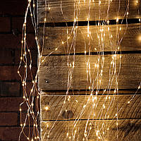 """Штора на медной проволоке """"Капля росы"""" 3х2м, 320 led, цвет тепло-белый - декоративная гирлянда на Новый год"""