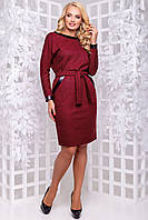 Теплое платье из плотной ангоры рукав летучая мышь с карманами 50-52 размера марсаловое, фото 1