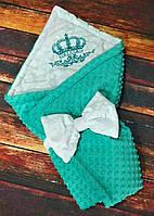 """Конверт-одеяло плюшевый  с вышивкой, 78""""78 см"""
