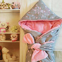 """Конверт-одеяло махровый весенний с вышивкой, 78""""78 см , фото 1"""