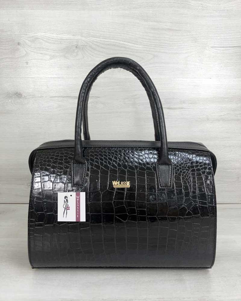 Каркасная сумка женская саквояж черная под крокодила