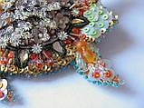 Вышитая брошь для верхней одежды. Черепаха, 96х98 мм, фото 3