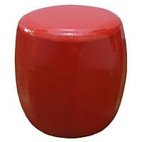 Кожаный круглый красный пуфик