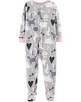 Пижама-человечек флис для девочек 2-3-4-5 лет. Зверюшки Carter's (США)
