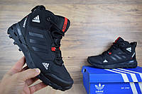 Мужские зимние кроссовки Adidas Terrex 390 черные с красным (ТОП реплика), фото 1