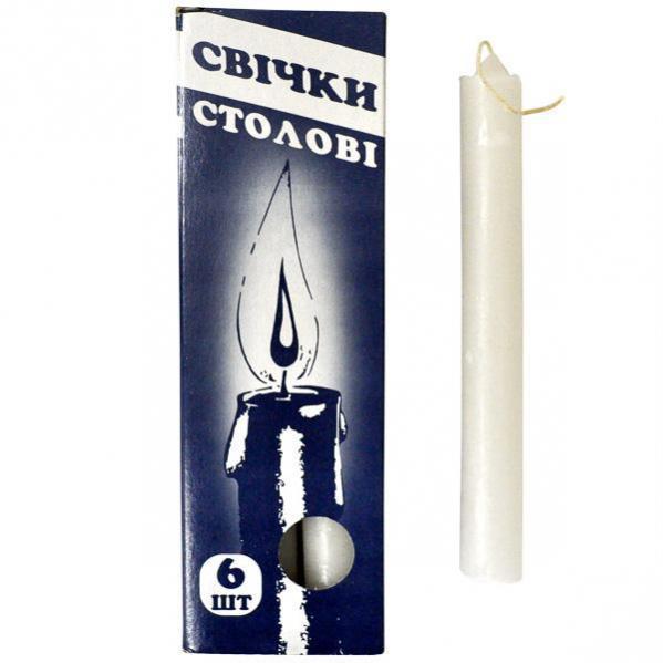 Свечи  столовые, парафиновые  упаковка/6 штук.