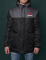 Зимняя Мужская Теплая Куртка-Парка Reebok Мужские Черные Куртки Зимние Рибок
