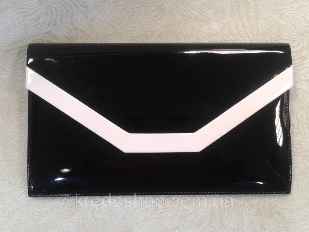 28891d2a6ba3 Клатч женский вечерний лаковый черный с белым (Турция) - Интернет-магазин  сумок и