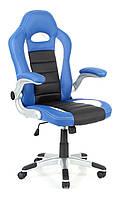 Кресло компьютерное кожаное ЕКО 24604 черно-синее