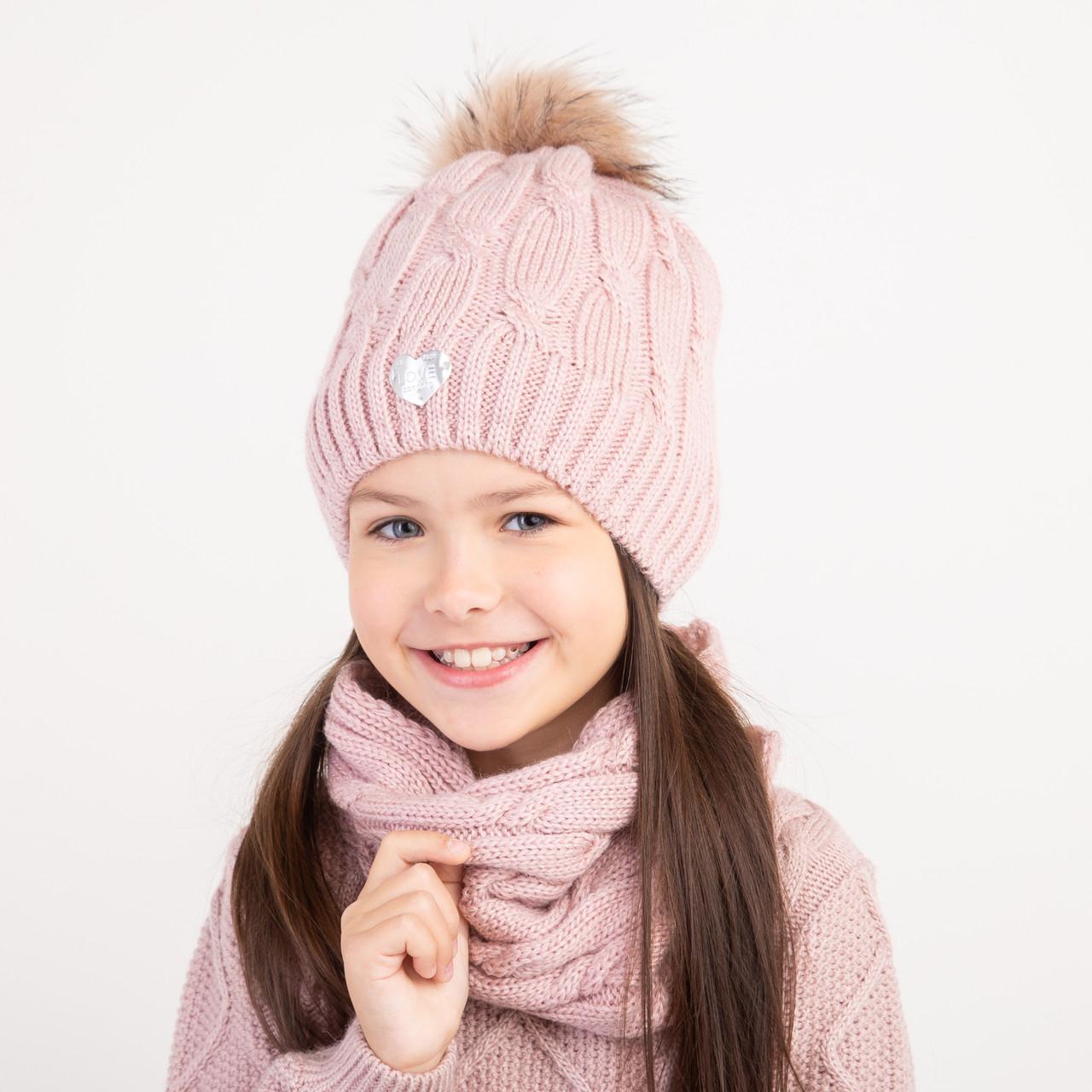 Зимний вязаный комплект для девочки оптом - Артикул 2382
