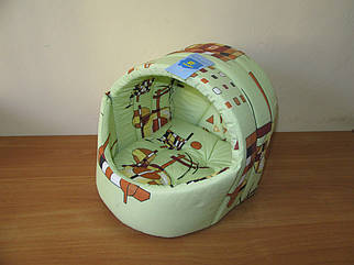 Лукошко (домик, мягкое место) №1 Collar 31х36х30см, салатовое с орнаментом