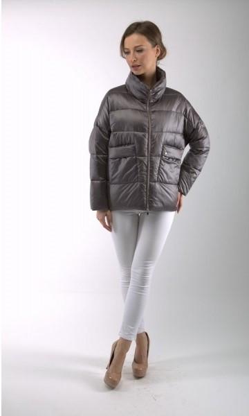 Демисезонная женская куртка BTF 1830 графитовая, 44 размер