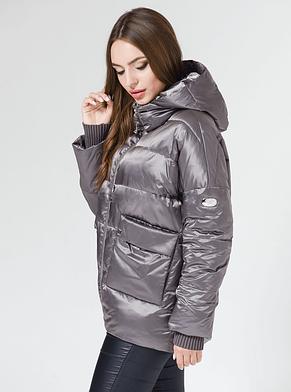 Демисезонная женская куртка BTF 1830 графитовая, 44 размер, фото 2