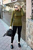 """Вязаный женский свитер """"Ника"""", хаки, фото 1"""