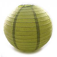 Фонарь зеленый бумажный. Китайский фонарик.  (d-30 см)