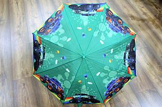 Красочный зонт трость для мальчиков с рисунком машинки (13831)