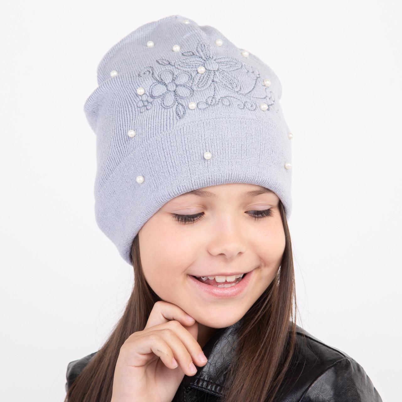 Модная осенняя шапка для девочки - Арт 1994