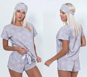 Байковая пижама с маской для сна