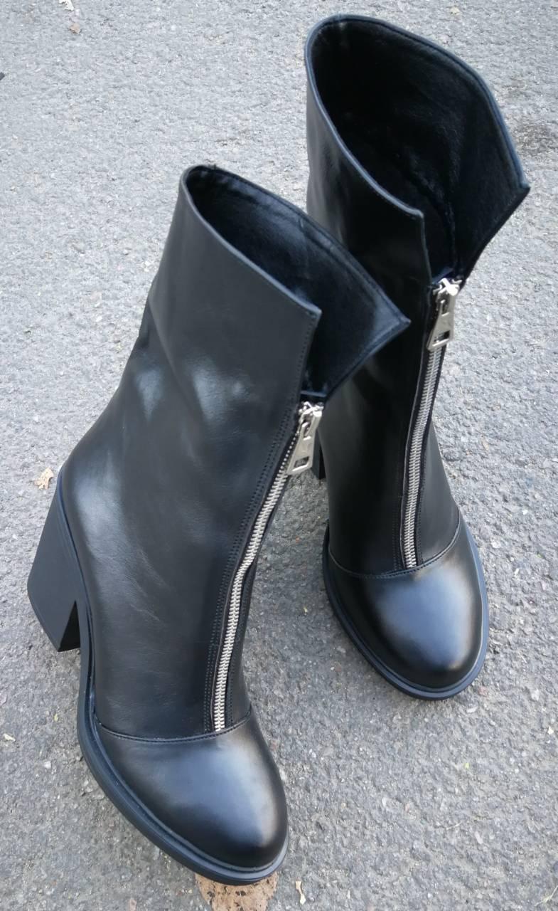 8a94a7c88 Ботинки женские зима кожа! Змейка спереди удобный широкий каблук Кензо -  Trendy-